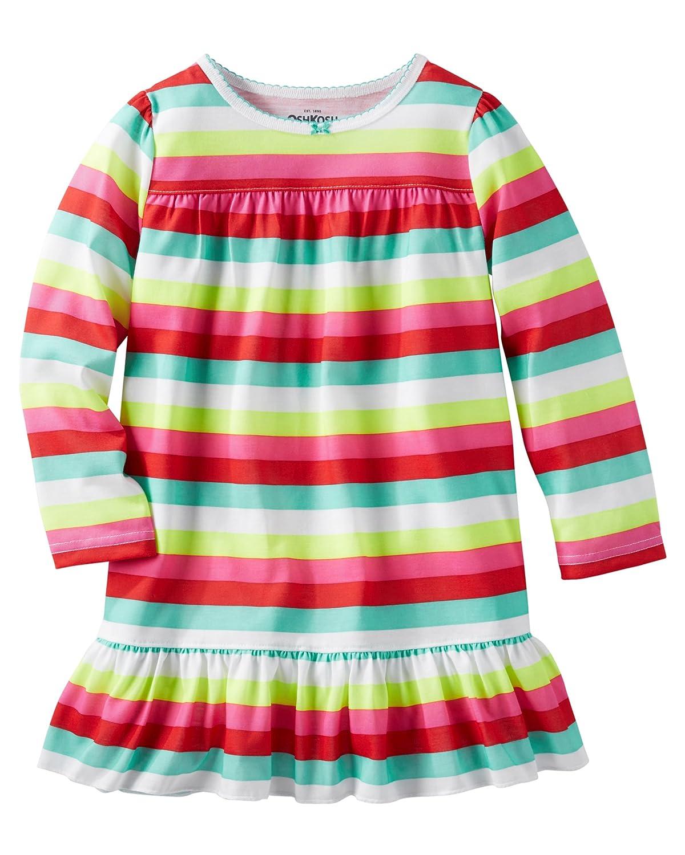 OshKosh Big Girls Rainbow Striped Ruffle Nightgown 10