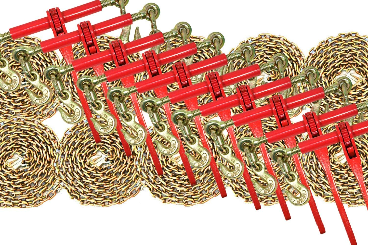 3/8 Transport Hauling Load Package - 10x Ratchet Binders - 10x 10' Foot Chains