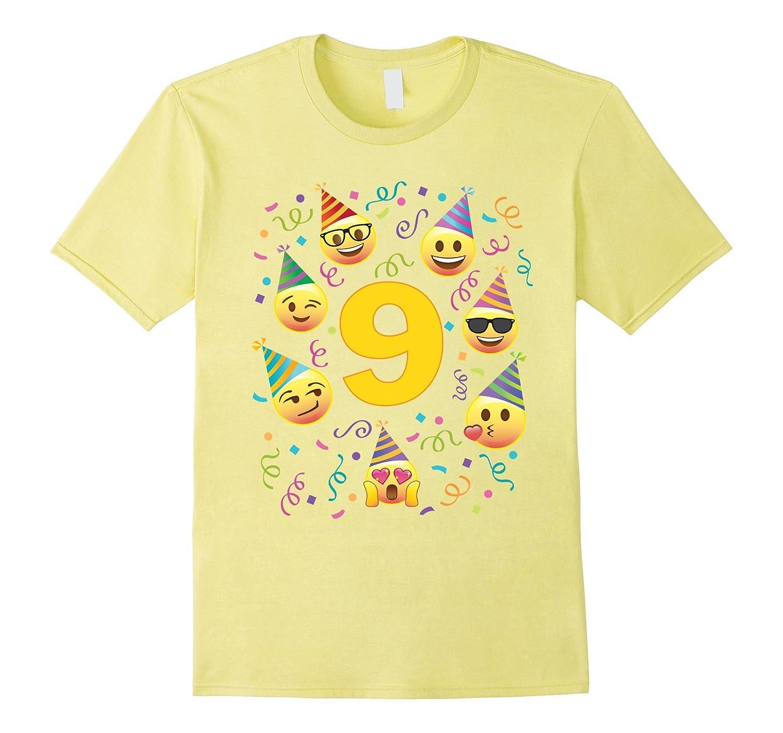 Emoji Birthday Shirt For 9 Nine Year Old Girl Boy