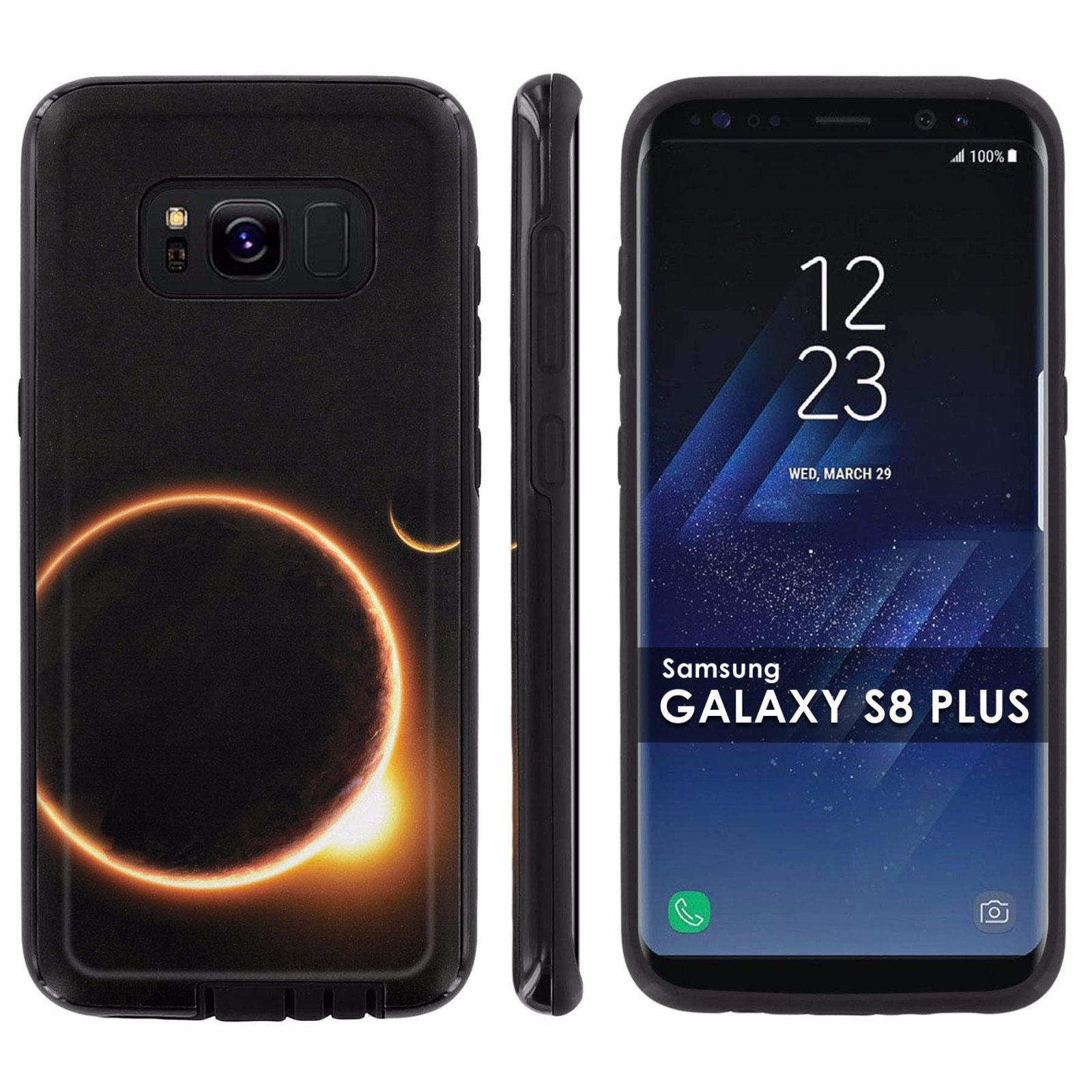 Galaxy S8Plus Slim Case [Mobiflare] [Black/Black] Shell Shock Phone Case [Screen Protector] - [Solar Eclipse] for Samsung Galaxy S8+ [6.2 '' Screen Size]