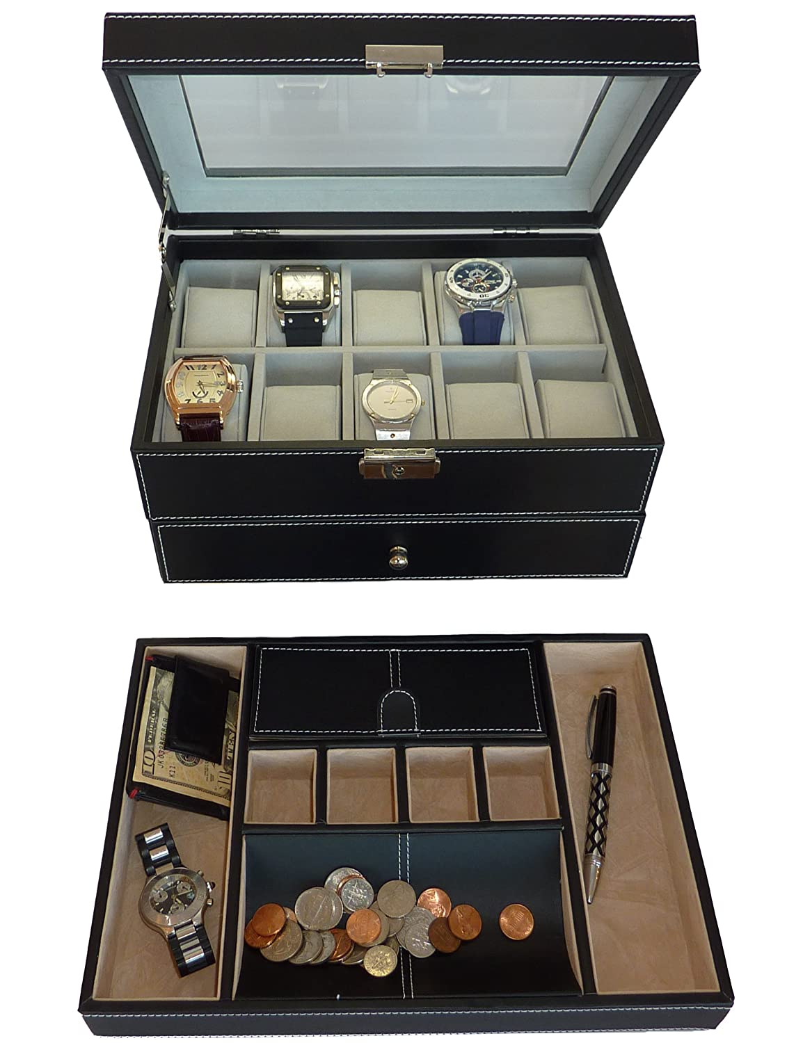 Amazon.com Two Piece Menu0027s Executive Gift Set Black Valet Tray and 20 Slot Watch Display Case Box With Glass Top Watches  sc 1 st  Amazon.com & Amazon.com: Two Piece Menu0027s Executive Gift Set Black Valet Tray ... Aboutintivar.Com