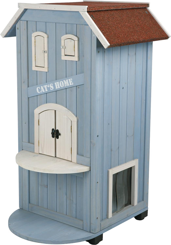 Trixie Natura Katzenhaus Cat S Home 56 94 59 Cm Hellblau Weiß Amazon Co Uk Pet Supplies