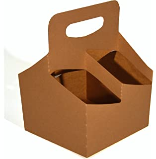 Southern Champion Tray 2797 Kraft Paperboard Drink Carrier with Handle, Hold 4 Cups up to