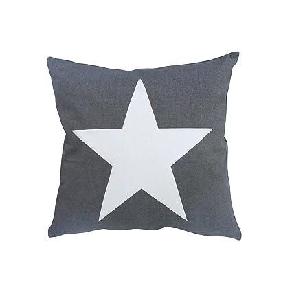 Krasilnikoff funda de cojín gris, grande Estrella Blanco ...