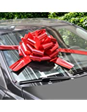 "WXJ13 16"" Bright Red Car Bows with 6m Ribbon for Christmas Presents, Large Gift Decoration, Prom, Surprise Party, New Houses"