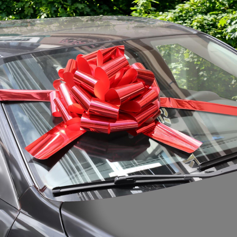 WXJ13 - Lazos de coche con cinta de 6 m para regalos de Navidad, decoración de regalo, bailes, fiestas sorpresas, nuevas casas, color rojo brillante: Amazon.es: Libros