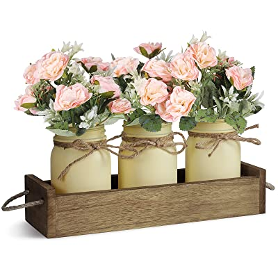 Buy Floral Arrangements Artificial Centerpieces Centerpieces For Dining Room Table Mason Jar Decorative Wood Tray With Fake Rose Bouquet Flowers Farmhouse Decor For Living Room Kitchen Table Pink Online In Turkey