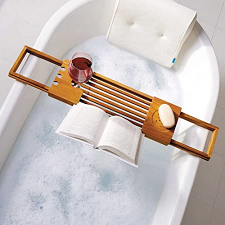 Utoplike Teak Wood Bathtub Caddy Tray Bathtub Bridge with Book Rack ...