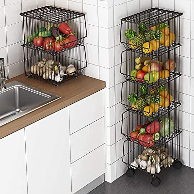 Buy Whifea Metal Wire Basket With Wheels And Cover 5 Tier Stackable Rolling Fruit Basket Utility Rack Storage Organizer Bin For Kitchen Pantry Closet Bedroom Bathroom Online In Turkey B07v8jd84h
