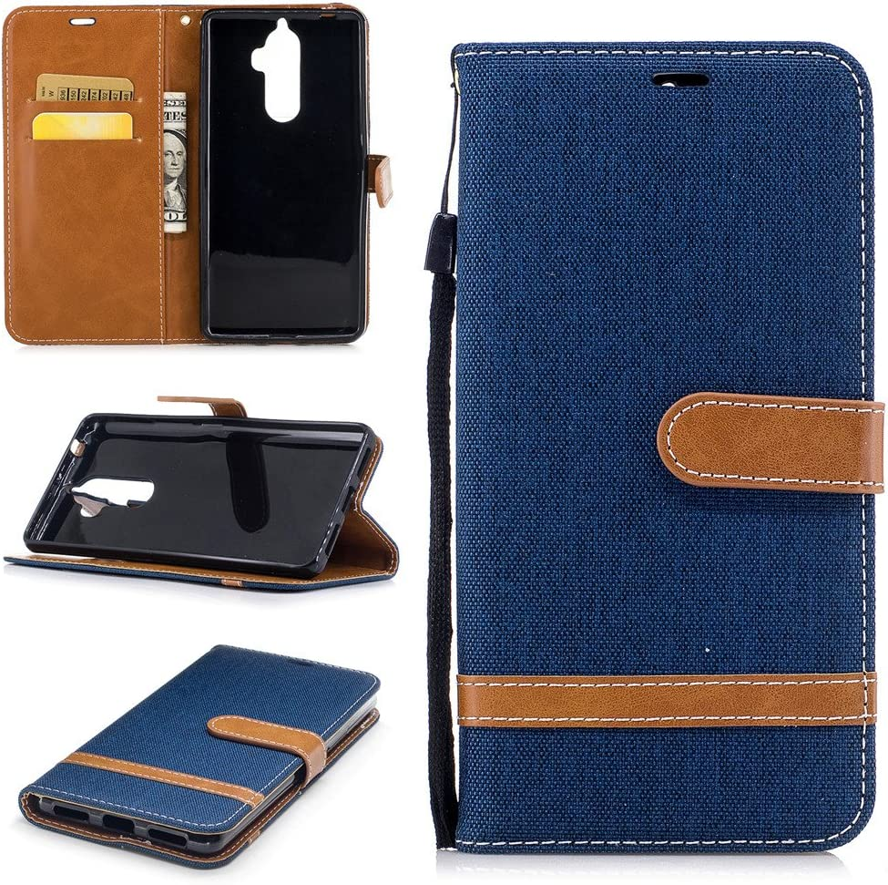 Ooboom Lenovo K8 Note Case PU Leather Magnetic Flip Folio Stylish Cover Wallet Card Slots Stand Function Strap for Lenovo K8 Note - Navy Blue