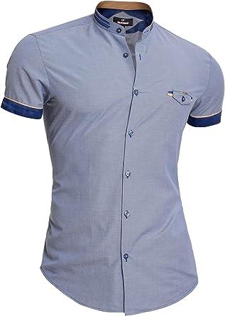 Mondo Camisa de Manga Corta de algodón para Hombre Cuello Mao ...