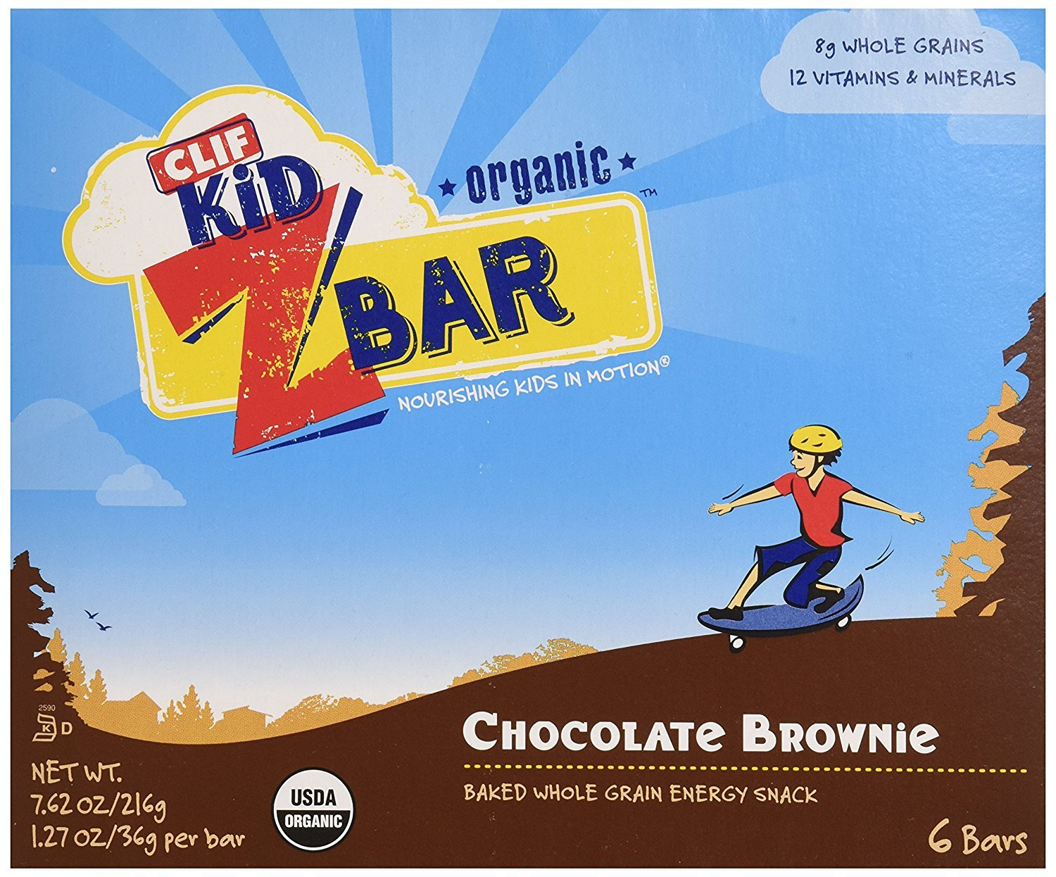 CLIF KID ZBAR - Organic Granola Bars - Chocolate Brownie - (1.27 Ounce Energy Bars, Lunch Box Snacks, 6 Count)