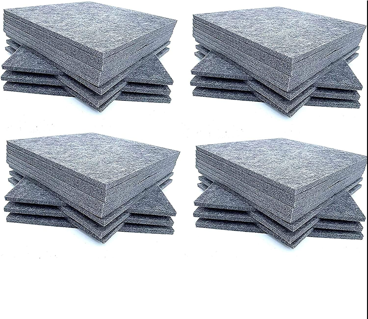 48 Pack Set Acoustic Absorption Panel, 12 X 12 X 0.4 Inches Grey Acoustic Soundproofing Insulation Panel Tiles, Acoustic Treatment Used in Home & Offices
