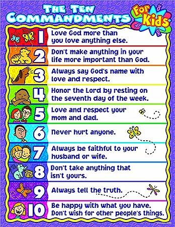 Carson-Dellosa Christian The Ten Commandments for Kids Chart (6359)