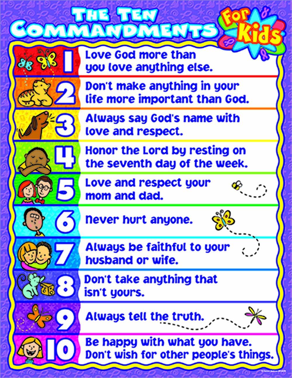 the ten commandments for kids chart amazon co uk linda standke