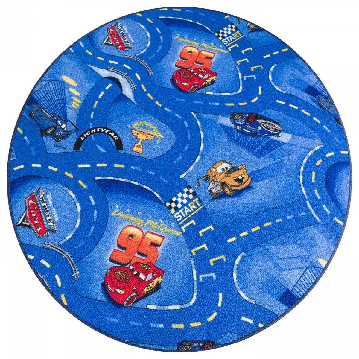 Havatex Kinderteppich Cars rund - Farben  Rot, Blau, Grau   Spielteppich schadstoffgeprüft pflegeleicht strapazierfähig   Kinderzimmer Spielzimmer Autos, Farbe Blau, Größe 200 cm rund