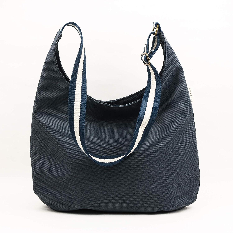 Bolso lona algodón, ligero y resistente. Bolso con cremallera y asa regulable. Bolso hombro azul marengo: Amazon.es: Handmade