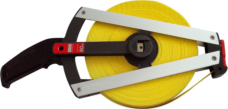 Jaune//Noir//Argent BMI 520041050A M/ètre ruban /à cadre fibre de verre renforc/ée 50 m x 13 mm