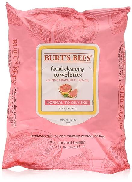 Burts BeesBurts Bees Toallas de limpieza facial, color rosa pomelo 30 ea, Pack De