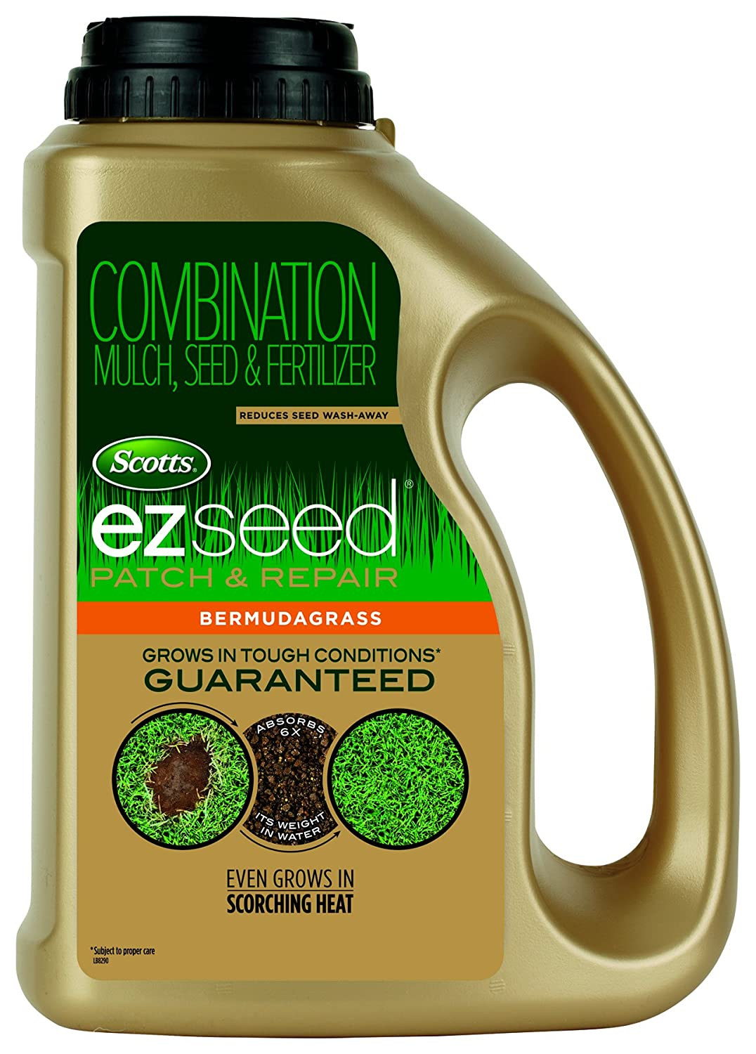 Scotts EZ Seed Bermudagrass - 3.75 lb., Combination Mulch, Seed and Fertilizer, For Tough Conditions Like Scorching Heat and Dry Areas, Grows on Slopes and in High Traffic Areas