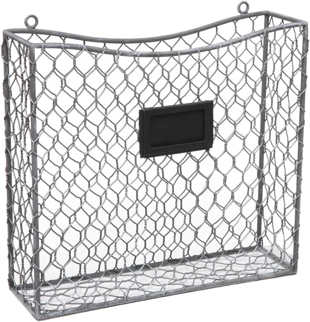 Country Rustic Gray Metal Wire Wall Mounted Magazine, File & Mail Holder Basket w/Chalkboard Label