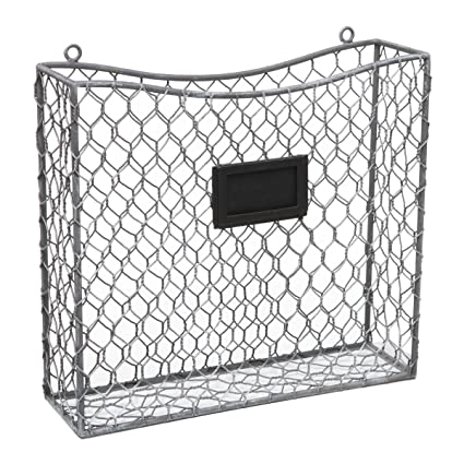 Wire Wall Magazine Rack | Amazon Com Country Rustic Gray Metal Wire Wall Mounted Magazine