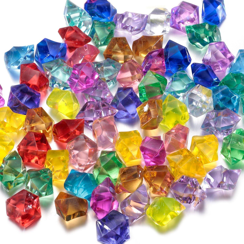 FunLaVie Gemas acrílicas de colores en forma de diamante, para decoración, jarrones, bodas, decoración de mesa, para esparcir como confeti o como tesoro pirata