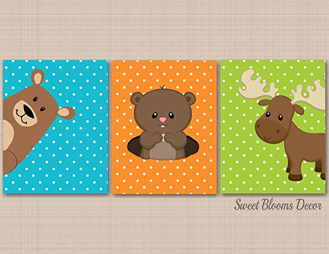 Woodland Nursery Wall Art,Woodland Nursery Decor,Bear Moose Groundhog Wall  Art,Woodland