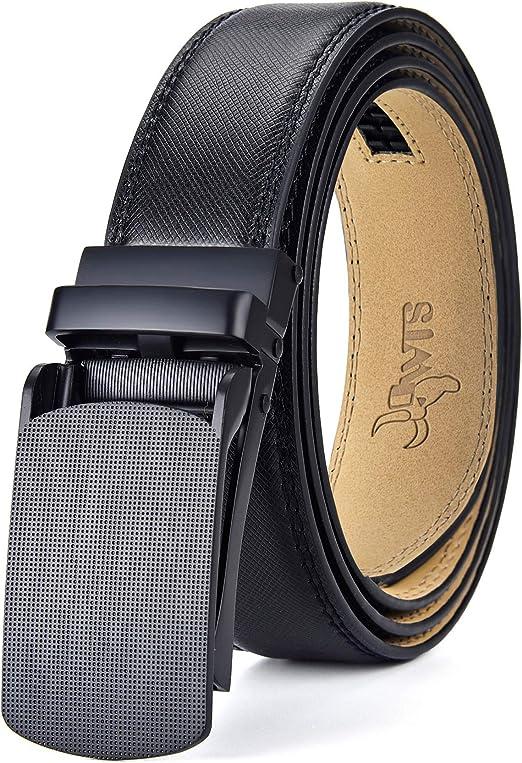"43/"" Genuine Leather Dress Belt Automatic lock Click Comfort Buckle 1 Men/'s belt"