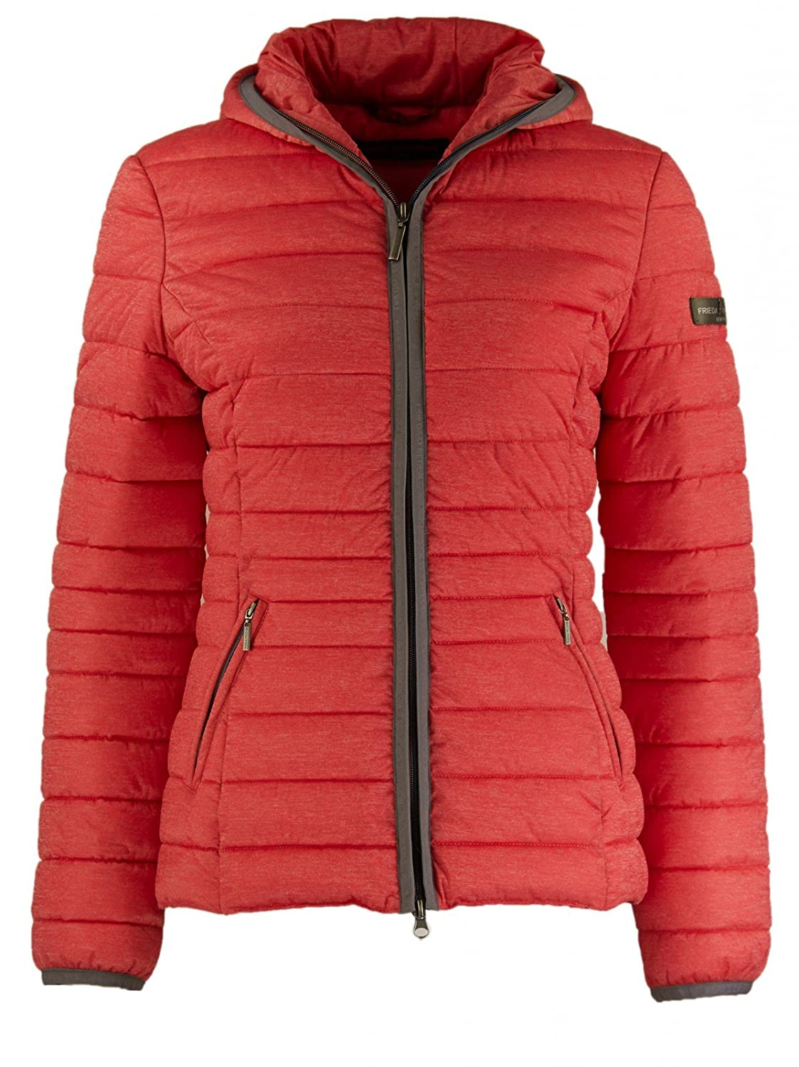 Frieda & Freddies Damen Steppjacke mit Kapuze in Risky Red