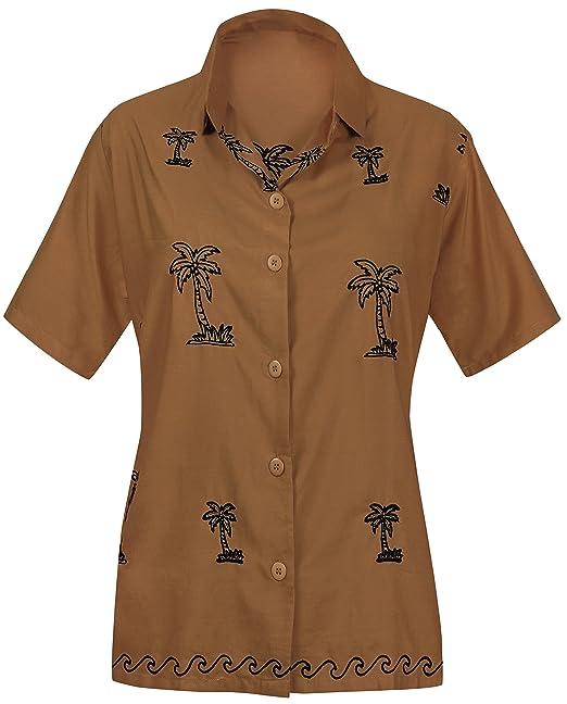 Blusas de la Camisa Hawaiana botón Abajo Ajuste del Vestido Mujeres Relajado de Manga Corta de