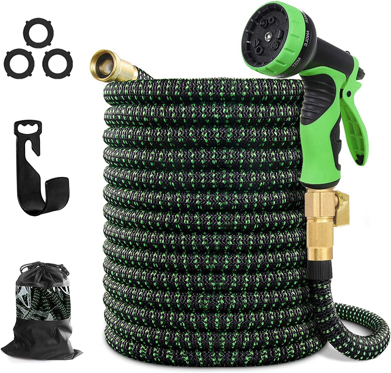 """Expandable Water Hose Garden Hose 100Ft Nozzle Pocket Flexible Retractable Hose with Triple Layer Latex Core 3/4"""" Solid Brass Fittings 3750D Extra Strength Fabric 10 Function Nozzle for All Your Need"""