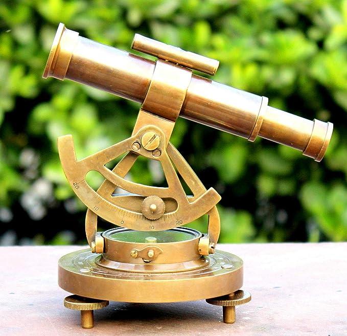 Brass Shiny Alidade Telescope Compass Nautical Collectible Vintage Gift