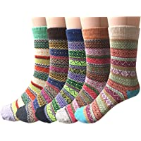 5 Pairs Womens Socks Wool Thermal Warm Knitting Ladies Socks for Winter