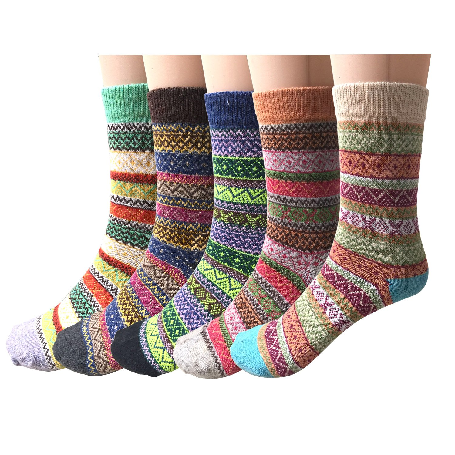 Pack of 5 Womens Vintage Style Cotton Knitting Wool Warm Winter Fall Crew Socks, Mixed Color 1, One Size - fit shoe sizes from 5-10 by Justay