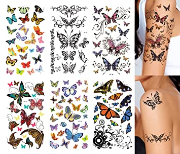 054420e34d5fc Amazon.com : Supperb Butterfly Temporary Tattoos/6-pack : Beauty