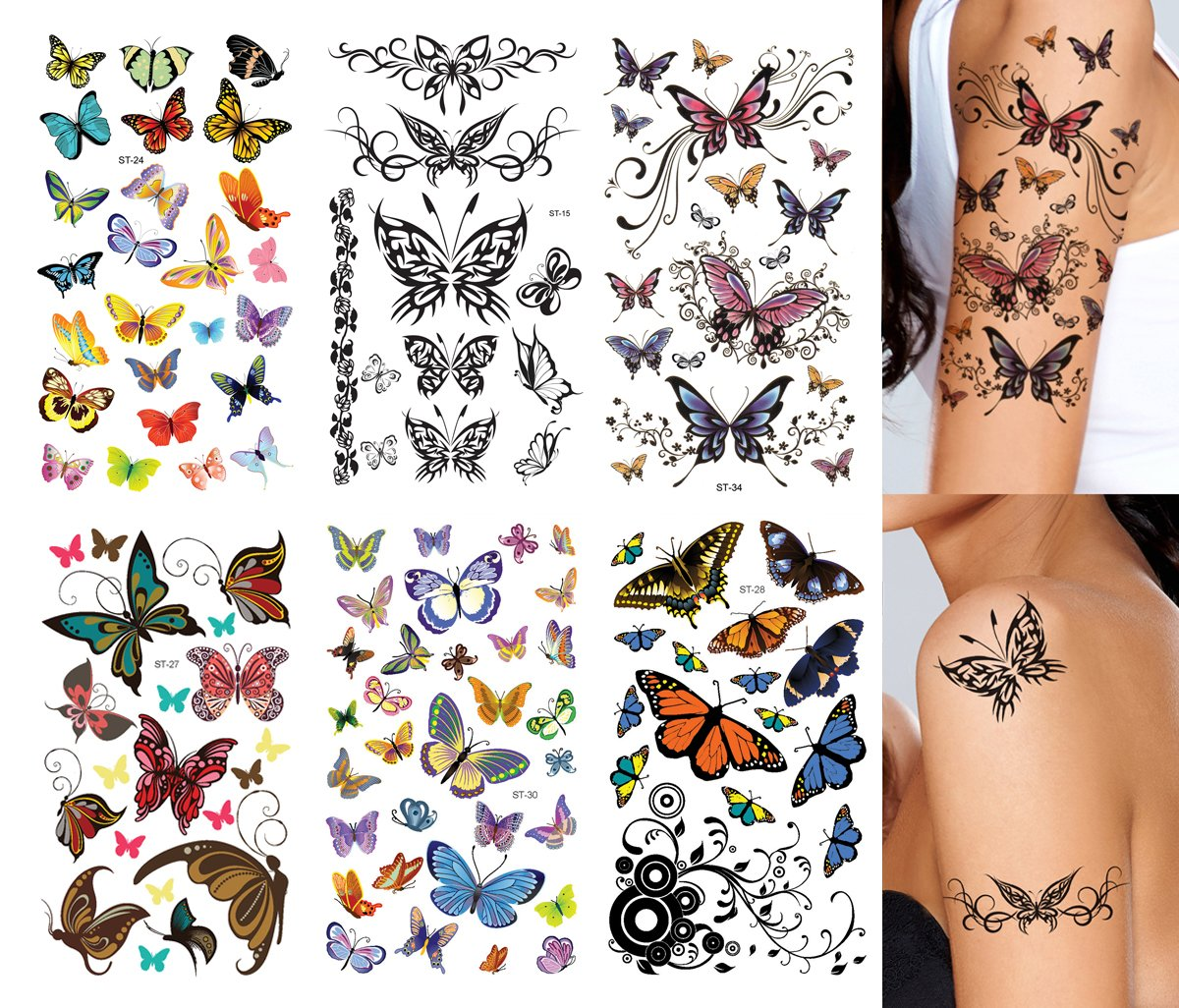 Supperb Butterfly Temporary Tattoos/6-pack