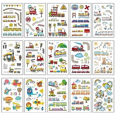 SZSMART Tatuajes Temporales para Niños Niñas, 100pcs Dibujos Animados Tren Tatuaje Falso Pegatinas Helicóptero Niños Infantiles Fiesta de cumpleaños Regalo Bolsas Relleno: Juguetes y juegos