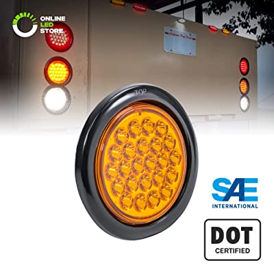 "4"" Amber Round LED Trailer Tail Light [DOT FMVSS 108] [SAE STI] [24 LED] [Grommet & Plug Included] [IP67 Waterproof] [Park & Turn Signal] Marine Trailer Lights for Boat Trailer RV Trucks: Automotive"