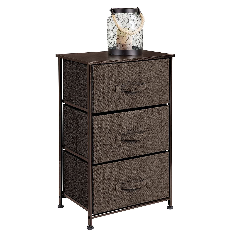 Mdesign Vertical Dresser Storage Tower S Y Steel Frame Wood Top Easy Pull Fabric Bins Organizer Unit For Bedroom Hallway Entryway