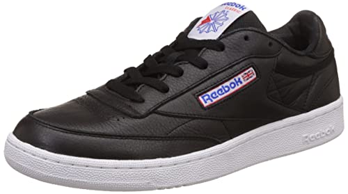 967f2fe9eed739 Image Unavailable. Image not available for. Colour  Reebok Men s Club C 85  So Black White Vital Blue Leather Tennis Shoes -