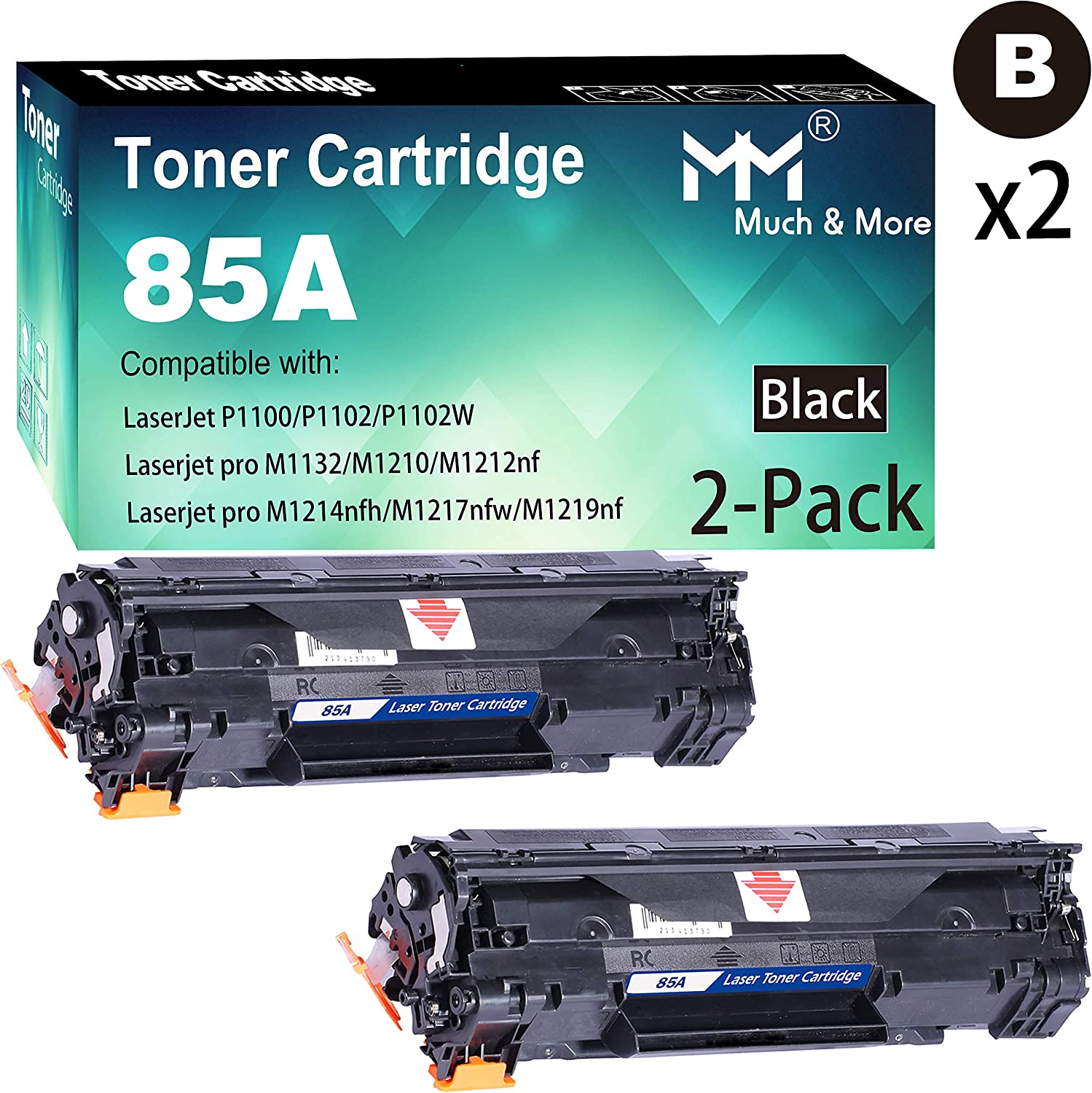(2-Pack, Black) Compatible HP 85A CE285A Toner Cartridge 285A to Used with HP Laserjet Pro P1102w P1109w M1212nf M1217nfw MFP Printer, by MuchMore