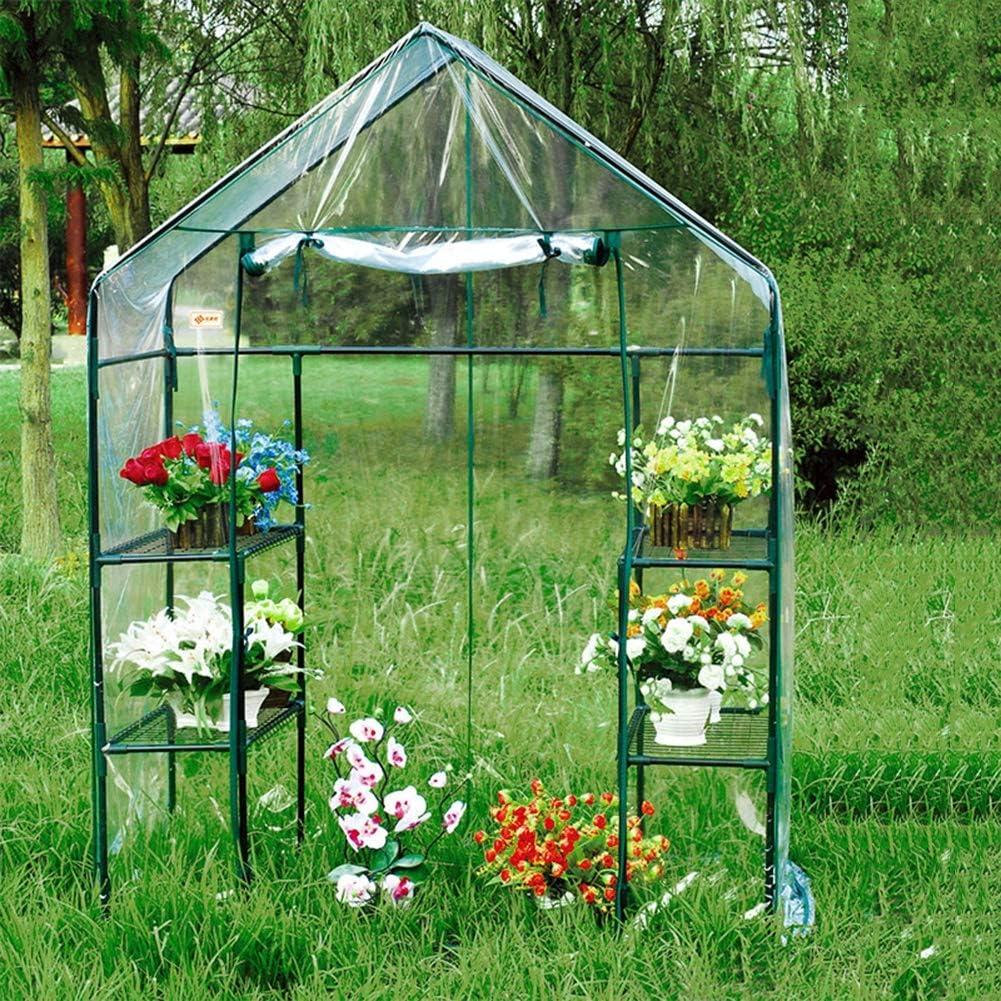 Gzhenh Invernadero Portátil Entrar En Invernadero 4 Capas Mini Verde El Plastico Invernadero De Jardín Invernadero Pequeño PVC (Color : 3pcs, Size : 143x73x195cm)