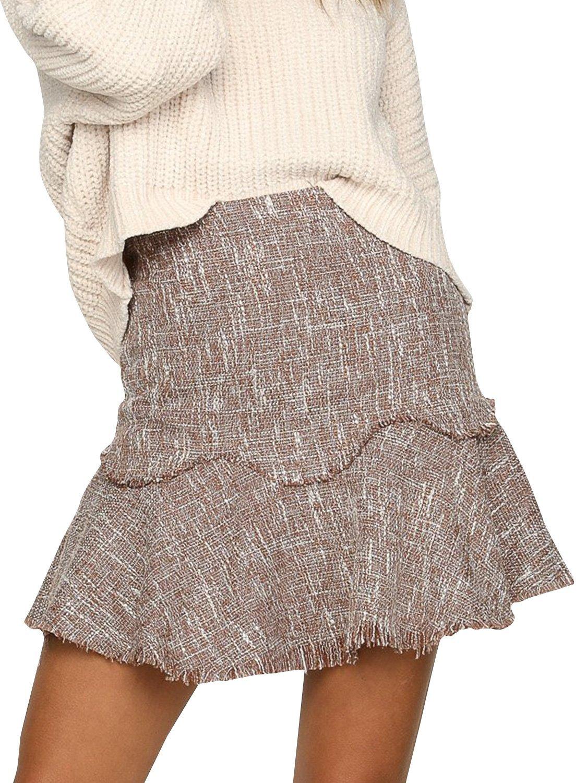 BerryGo Women's Casual High Waist Tweed A-Line Mini Skirt Light Brown,M