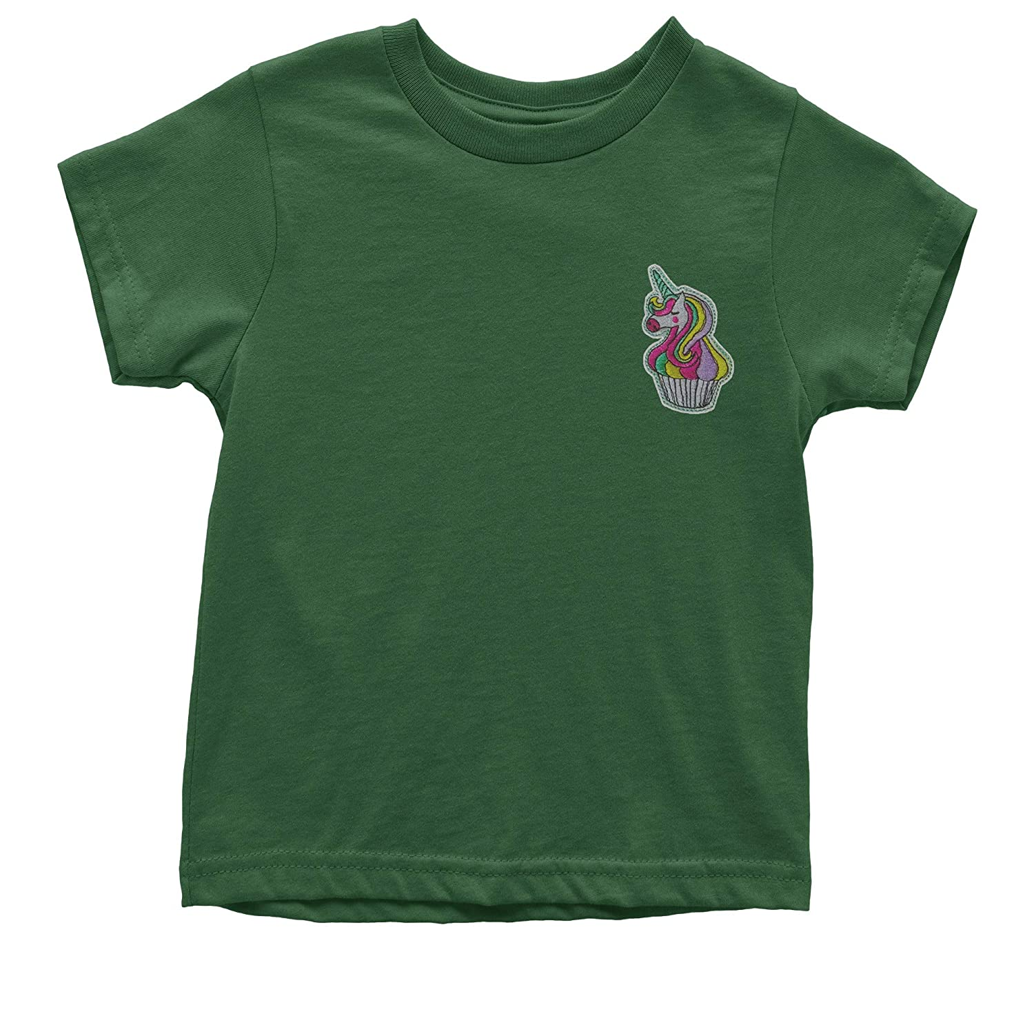 Pocket Print Youth T-Shirt Expression Tees Embroidered Unicorn Cupcake Patch