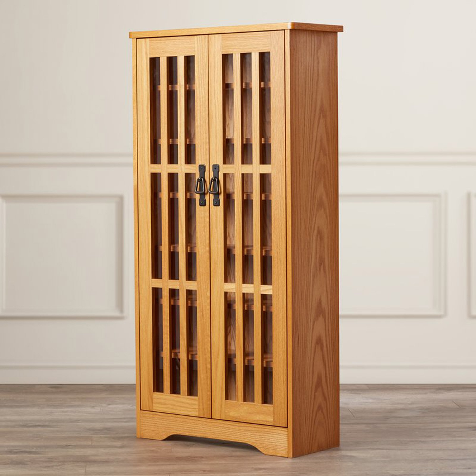 Contemporary Multimedia Storage Cabinet - Holds 371 CD or 185 DVD - Freestanding Wood Media Organizer with Tempered Glass Doors (Oak)