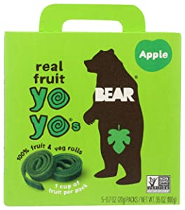 BEAR - Real Fruit Yoyos - Apple - 0.7 Ounce (5 Count) - No added Sugar, All Natural, non GMO, Gluten Free, Vegan - Healthy on-the-go snack for kids & adults