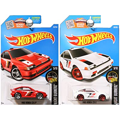 Hot Wheels 2016 Night Burnerz Honda CRX CR-X in Red and White SET OF 2: Toys & Games