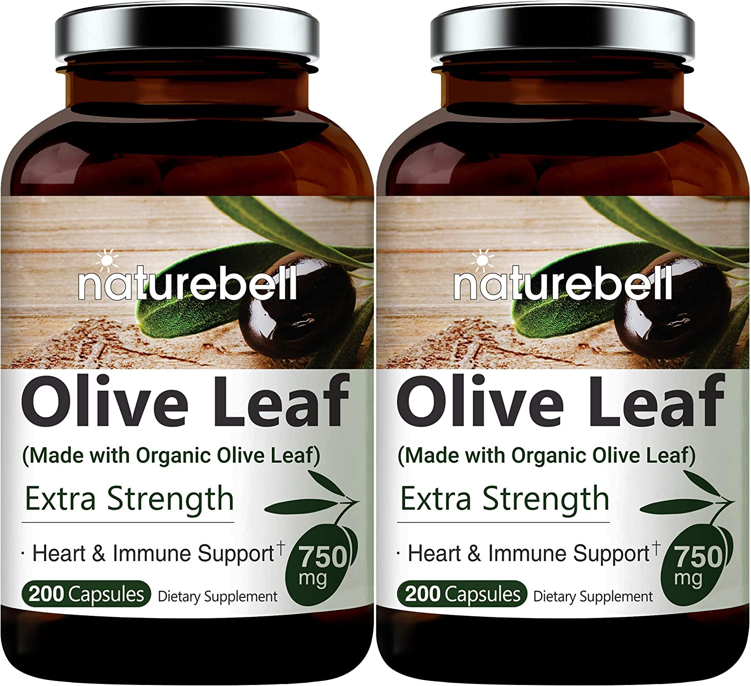 Made with Organic Olive Leaf Extract 750mg, 200 Capsules, Active Polyphenols and Oleuropei, Supports Immune System and Cardiovascular Health, Non-GMO, Made in USA (2 Pack)