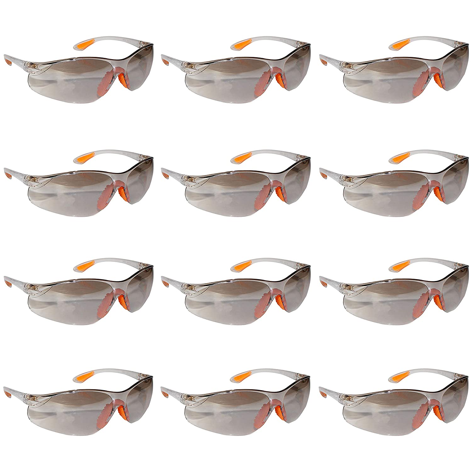 Kurtzy Pack of 12 Safety Glasses For Men & Women With Nose Rest - Grey Acrylic Plastic Are Slightly Tinted Will Protect Your Eyes From Spills, Splash Of Chemicals and Dust While Working
